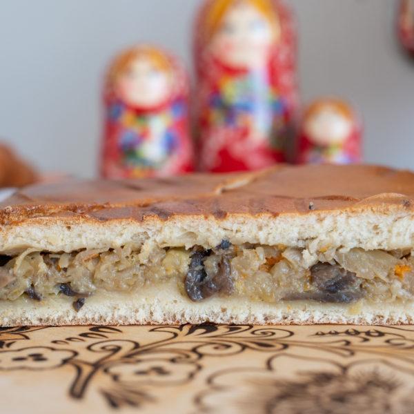 Пирог постный с капустой и грибами